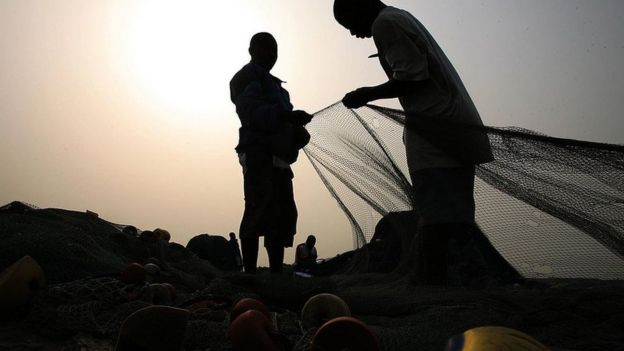 Pescadores em Gana