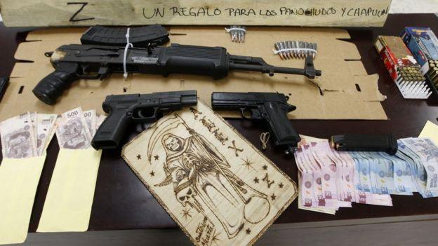 Armas incautadas al cartel de los Zetas