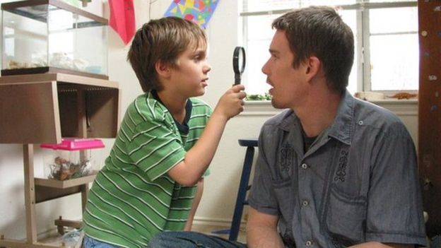 Ellar Coltrane and Ethan Hawke in Boyhood