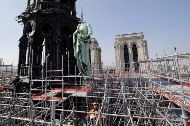 Obras en Notre Dame.