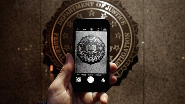 iPhone with FBI symbol