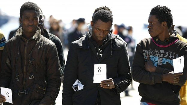 African migrants at the Sicilian port of Augusta