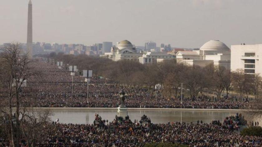 Crowds gather on the National Mall for the inauguration of Barack Obama.