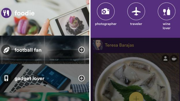 Capturas de tela do aplicativo da rede Hello