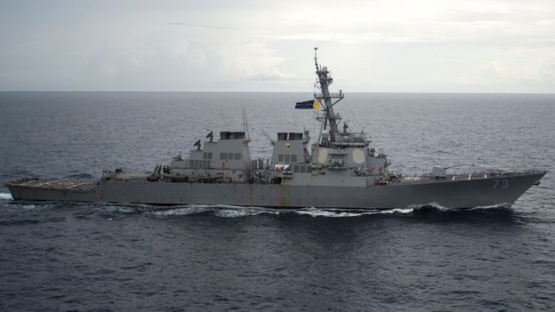 Guided-missile destroyer USS Decatur (DDG 73) operates in the South China Sea near the disputed Paracel Islands. Image copyright REUTERS