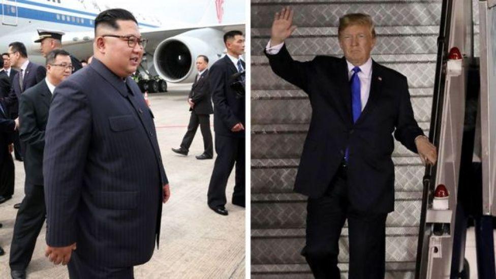 Kim Jong-un y Donald Trump a su llegada a Singapur.