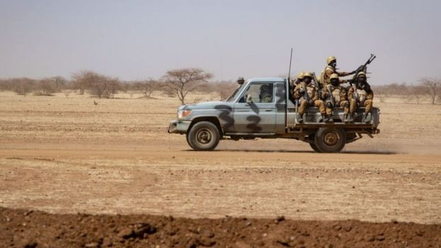 Burkina Faso soldiers patrolling in the north