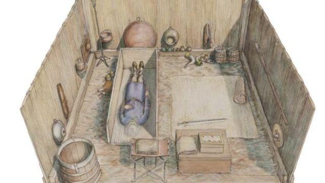 "Ilustração da tumba do ""Tutancâmon inglês"""