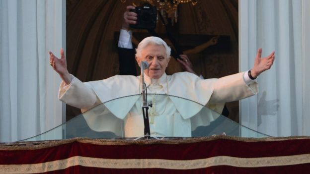 Pope Benedict XVI giving a farewell before retiring due to ill health in February 2013