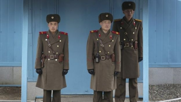 North Korean border guards at Panmunjon truce village (3 March 2016)