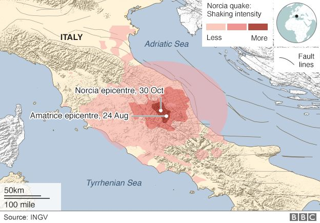 Map of central Italy showing intensity of Norcia quake and fault lines