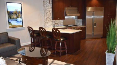apartamento com sala e cozinha e tv que emula janela