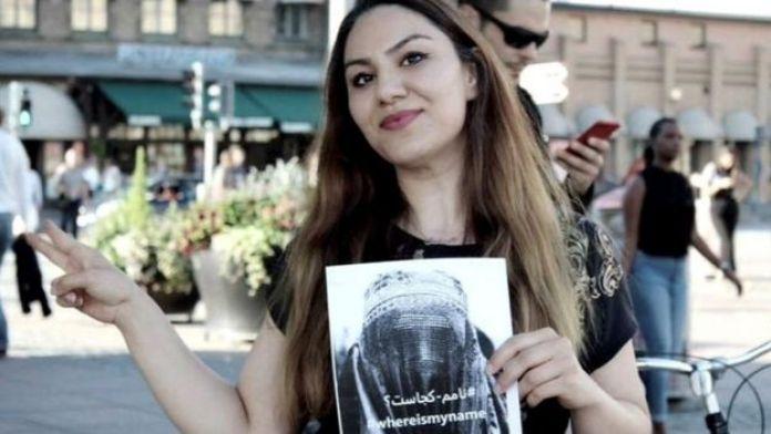 La activisa Sahar Samet dando su apoyo a la campaña WhereIsMyName?