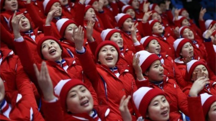North Korean cheerleaders at the Winter Olympics