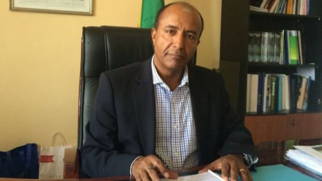 CEO of the Ethiopian Railways Corporation, Dr Engineer Getachew Betru, in his office in Addis Ababa