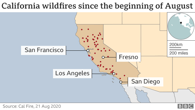 Map of wildfires in California since beginning of August