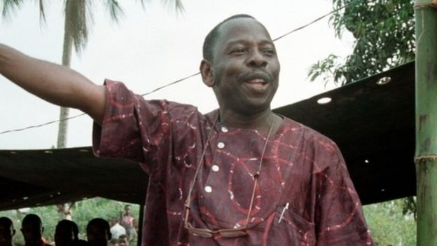 Ken Saro-Wiwa addressing Ogoni Day demonstration, Nigeria, (1 May 1993)