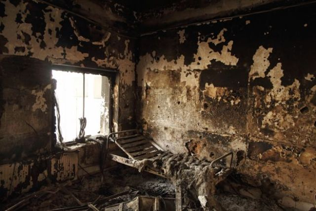 A burned-out room in the hospital