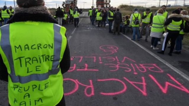 Protesters at Frontignon oil depot in southern France - 3 December