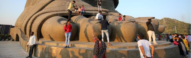 "People visit the ""Statue of Unity"" portraying Sardar Vallabhbhai Patel"