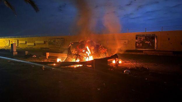 Aftermath of US drone strike near Baghdad International Airport that killed Qasem Soleimani (3 January 2020)