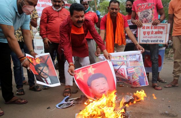 In Bhopal, India, anti-Chinese demonstrators chanted slogans and burned posters of Chinese President Xi Jinping.