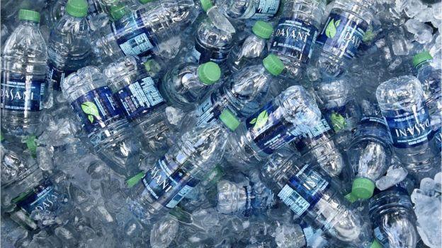 Plastic bottles of Dasani water