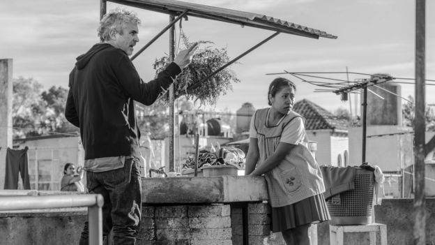 "Alfonso Cuarón on the set of ""Roma"""