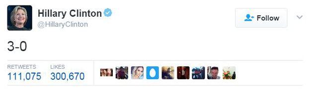 Tweet by Hillary Clinton, saying: