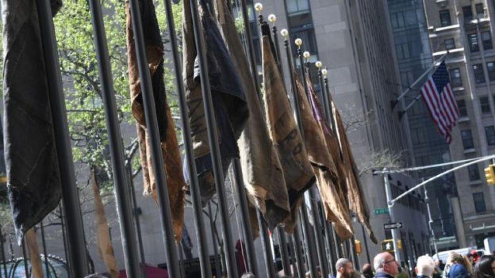 Ibrahim Mahama's jute sack flags outside the United Nations HQ