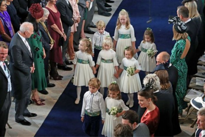 "The bridesmaids and page boys arrive for the wedding of Princess Eugenie to Jack Brooksbank at St George""s Chapel in Windsor Castle, Windsor, Britain, October 12, 2018"