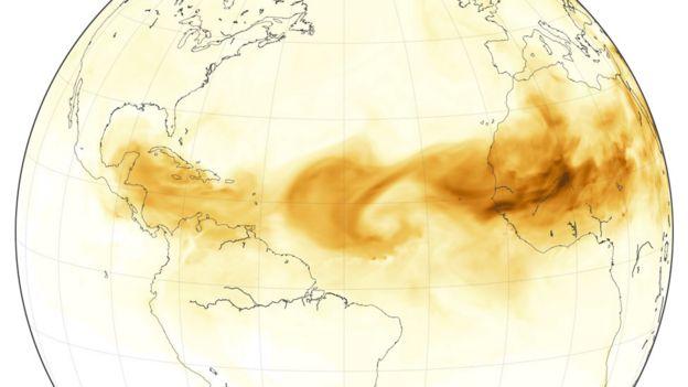 Mapa mostra nuvem de poeira do Saara na semana de 28 de junho de 2018