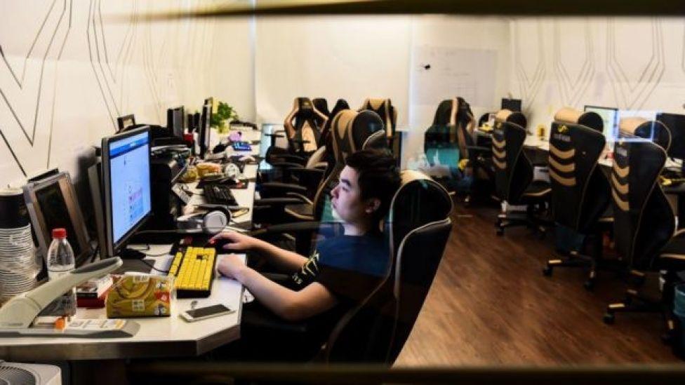 Jugadores de videojuegos en China.