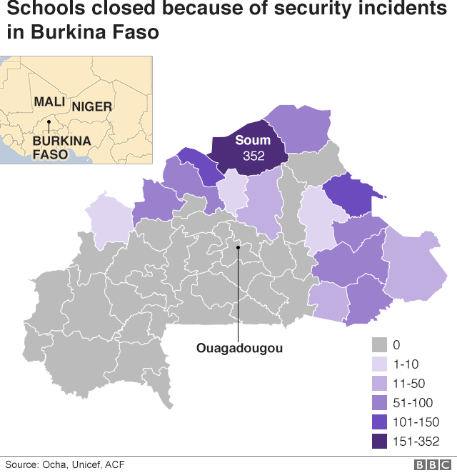 Graphic showing schools closed because of security incidents in Burkina Faso