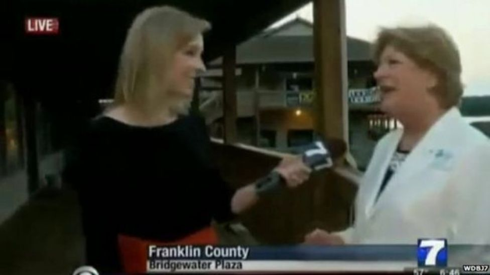Reporter Alison Parker doing an interview seconds before she was shot and killed live on air