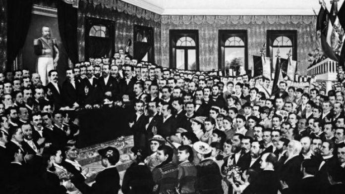 Pintura da sessão parlamentar que aboliu a escravidão no Ceará, em 1884; há homens e mulheres dentro do Parlamento