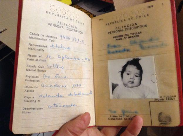 Child's passport for Alejandro Quezada