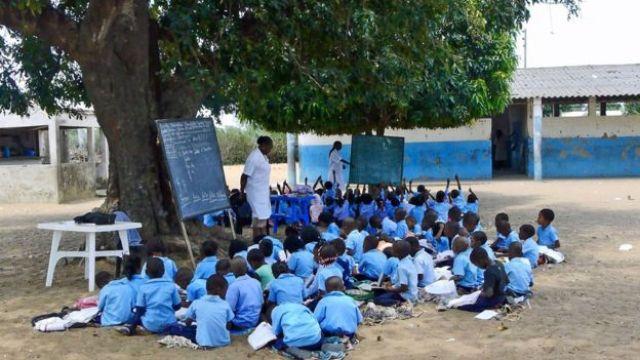 Duas turmas embaixo de salas-árvore; em uma delas, as crianças estão com as mãos levantadas