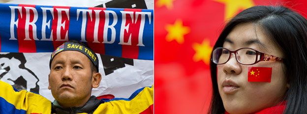 Protester from Anti-China Free Tibet group and pro-China supporter during Chinese President Xi Jinping's UK state visit