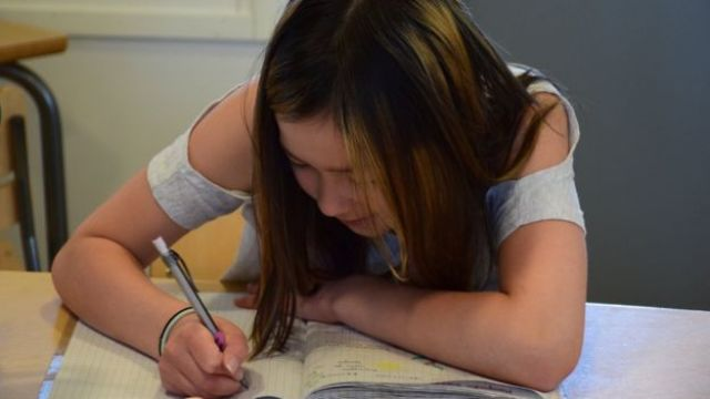 Girl learning at Hauho Comprehensive School, Finland