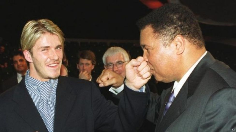 Ali meets footballer David Beckham after being named Sports Personality of the Century in 1999