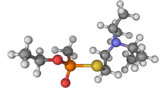 VX nerve agent, molecular model.