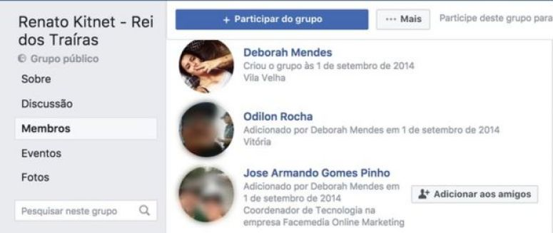 Captura de tela de grupo criado por perfil falso no Facebook