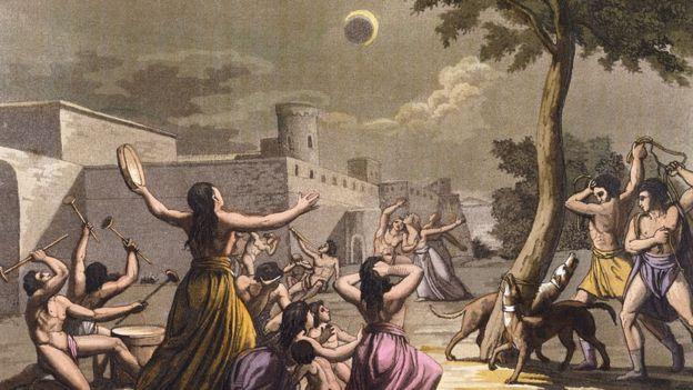 Ilustración de nativos americanos durante un eclipse solar.