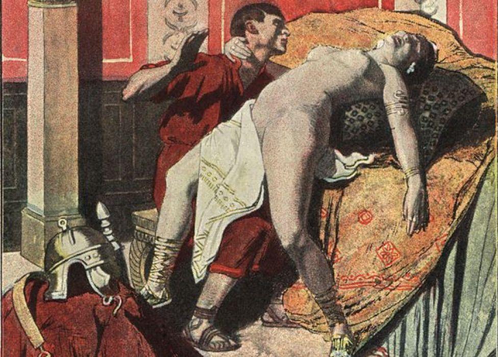 La emperatriz romana Mesalina desnuda en el burdel Lupanar con un soldado. Ilustración impresa en color de Auguste Leroux de la novela de Felicien Champsaur L'Orgie Latine (orgía romana), Fasquelle, París, 1903.