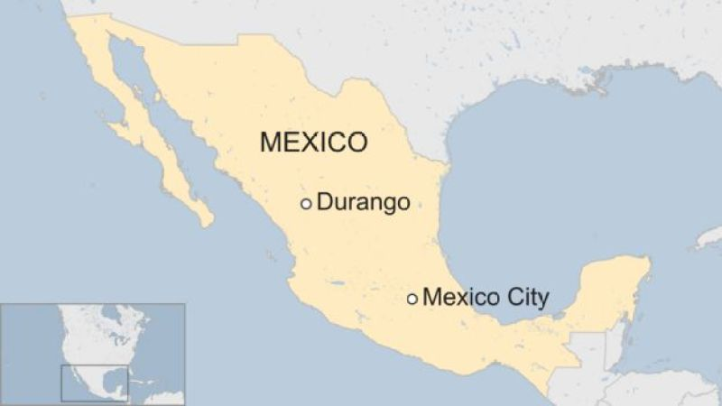 Durango shown on a map of Mexico