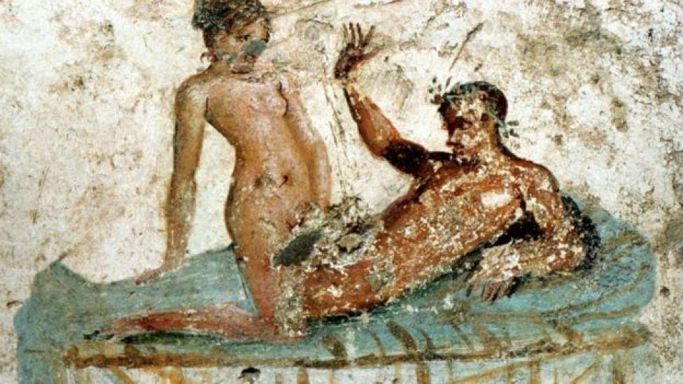 Ilustración en la pared de una habitación de la Casa del Centenario, la residencia de un acaudalado habitante de Pompeya, preservada por la erupción del Vesubio en 79 d.C.