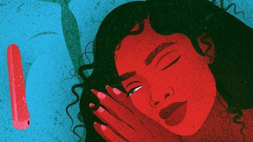 Ilustração de uma mulher dormindo ao lado de um vibrador