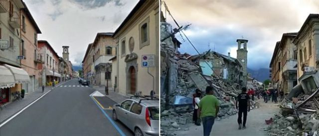 The earthquake badly damaged the centre of Amatrice, shown in these two pictures of the same street before and after the quake - 24 August 2016