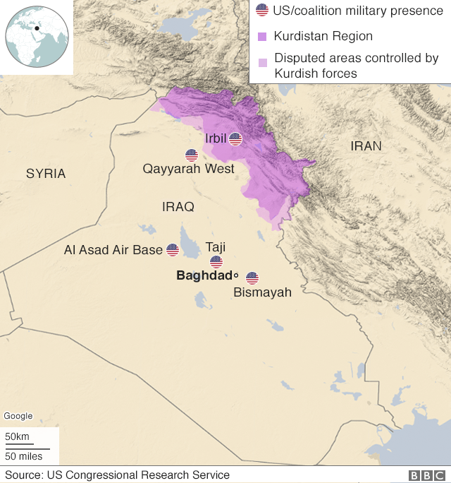 Map showing US military bases in Iraq